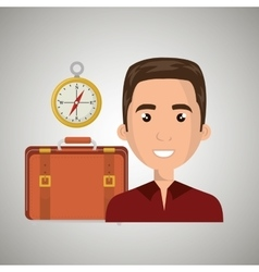 Man suitcase travel location vector
