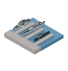 Military boats isometric composition vector