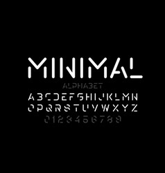 Minimal style font alphabet letters and numbers vector
