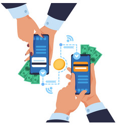 mobile money transfer cartoon hands holding vector image