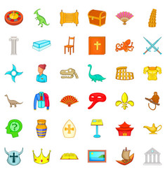 museum of antiquities icons set cartoon style vector image