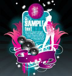 musical theme with girl vector image