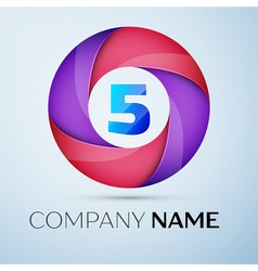 Number five logo symbol in the colorful circle vector
