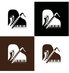 piano and saxophone logo vector image