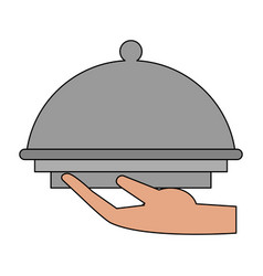 restaurant dish dome vector image