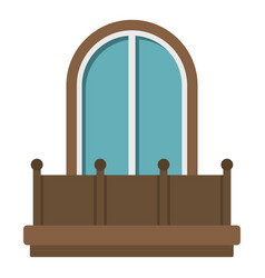 retro balcony with an arched window icon isolated vector image