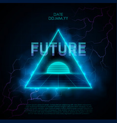 retrowave style with neon triangle vector image