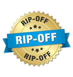 Rip-off 3d gold badge with blue ribbon vector