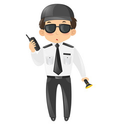 Security guard with radio and torch vector