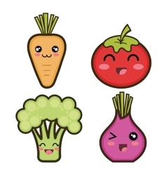set cartoon vegetables design vector image