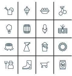 set of 16 agriculture icons includes growing vector image