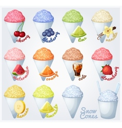 Set of snow cones shaved ice vector image