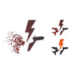 Shredded pixelated halftone aircraft disaster icon vector