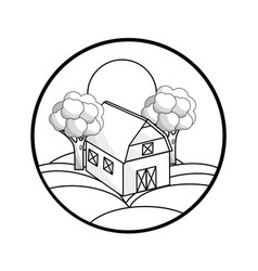 Silhouette round symbol farm in the mountain with vector