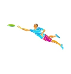 Sportsman throwing flying disc Ultimate game vector