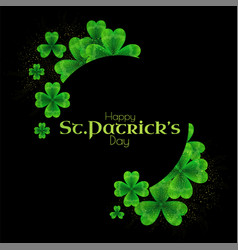st patricks day background with shamrock circle vector image