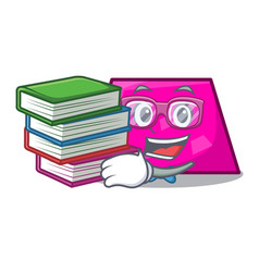Student with book trapezoid mascot cartoon style vector