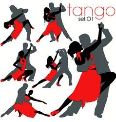 Tango silhouettes set vector