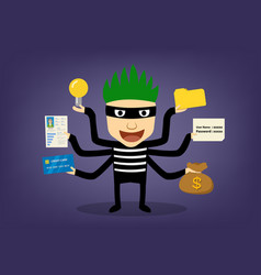 Thief infographic hackker can hack every thing vector