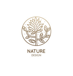 Tropical plant logo round emblem floral plant in vector