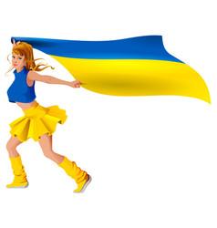 ukrainian girl sport fan holding flag soccer goal vector image