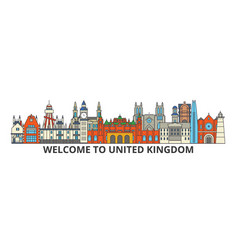 United kingdom outline skyline british flat thin vector