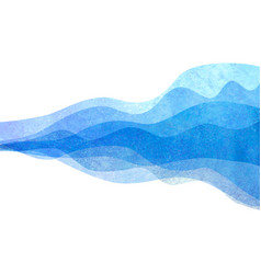 watercolor transparent wave blue colored vector image