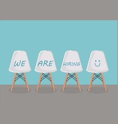 We are hiring texts on the chairs vector