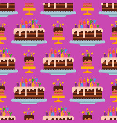 wedding or birthday pie cakes flat sweets dessert vector image