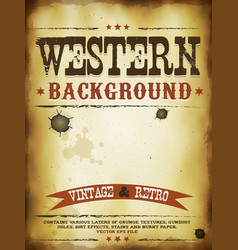Western grunge poster vector