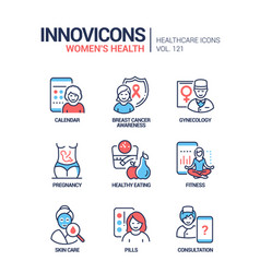 women health - line design style icons set vector image