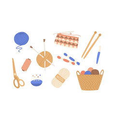 Yarn and threads colorful flat vector