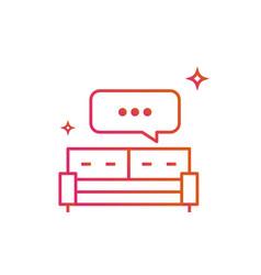 Bed or sofa speech bubble icon gradient line vector