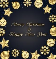 Christmas frame of golden baubles greeting banner vector