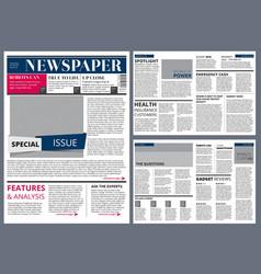 design template of newspaper vector image