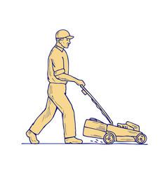 gardener mowing lawnmower drawing vector image vector image