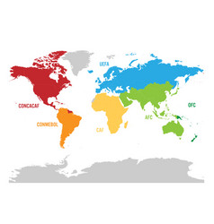 Map of world football or soccer confederations - vector