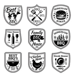 set of grill barbecue and steak labels vector image