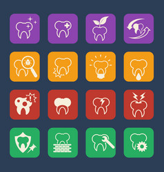 tooth teeth dental icons set flat design vector image