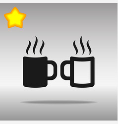 two coffee cup black icon button logo symbol vector image vector image