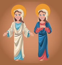 virgin mary spiritual prayer faith vector image