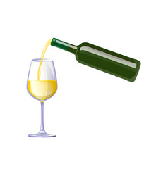 white wine pouring from bottle vector image vector image