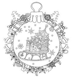 Hand drawn Christmas glass ball fir tree doodle vector image vector image