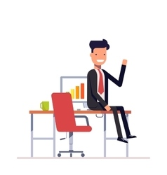 Lazy businessman or manager sitting at the table vector image vector image
