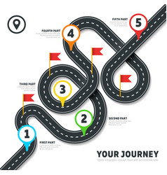 Navigation winding road way map infographic vector image