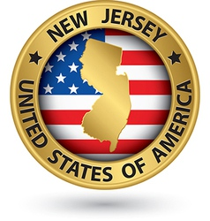 New Jersey state gold label with state map vector image vector image