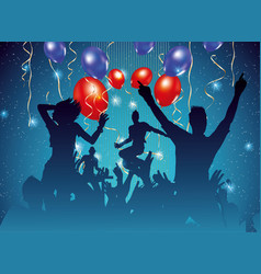 party background with dancing people silhouette vector image vector image