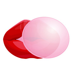 red female lips blowing bubble gum isolated vector image
