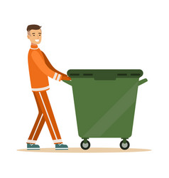 street cleaner man in a orange uniform taking out vector image vector image