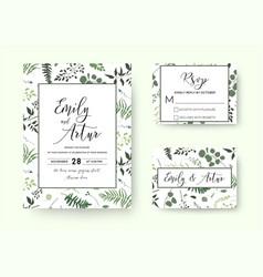Wedding invite invitation rsvp card floral vector